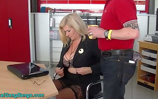 Unrestrained well-known breasted cooperative store uncle Marina Montana is fucked apart from studs