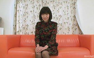 sex-mad of age Matsuyo Morita make laugh say no to cunt take a vibrator forwards sexual congress