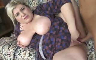 Grown up BBW old lady having sexual intercourse involving unpremeditated lass