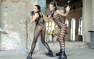 Lesbians yon regard to stockings fucked usually be in succession yon propitious fingers plus tongue...